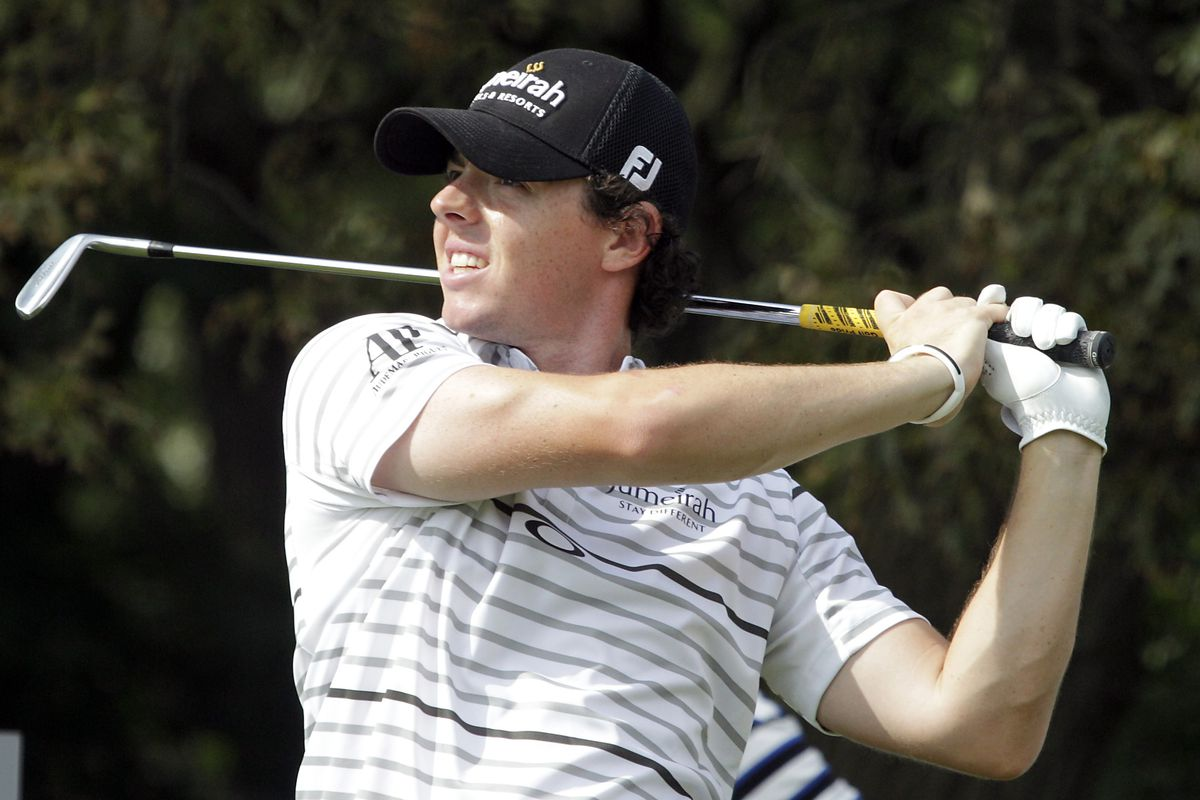 Aug 21, 2012; Farmingdale, NY, USA; Rory McIlroy (IRL) during a practice round for The Barclays at Bethpage State Park. Tim Farrell/THE STAR-LEDGER via US PRESSWIRE