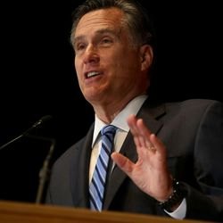 Former governor of Massachusetts Mitt Romney addresses the Hinckley Institute of Politics on the state of the 2016 presidential race at the University of Utah in Salt Lake City on Thursday, March 3,  2016.