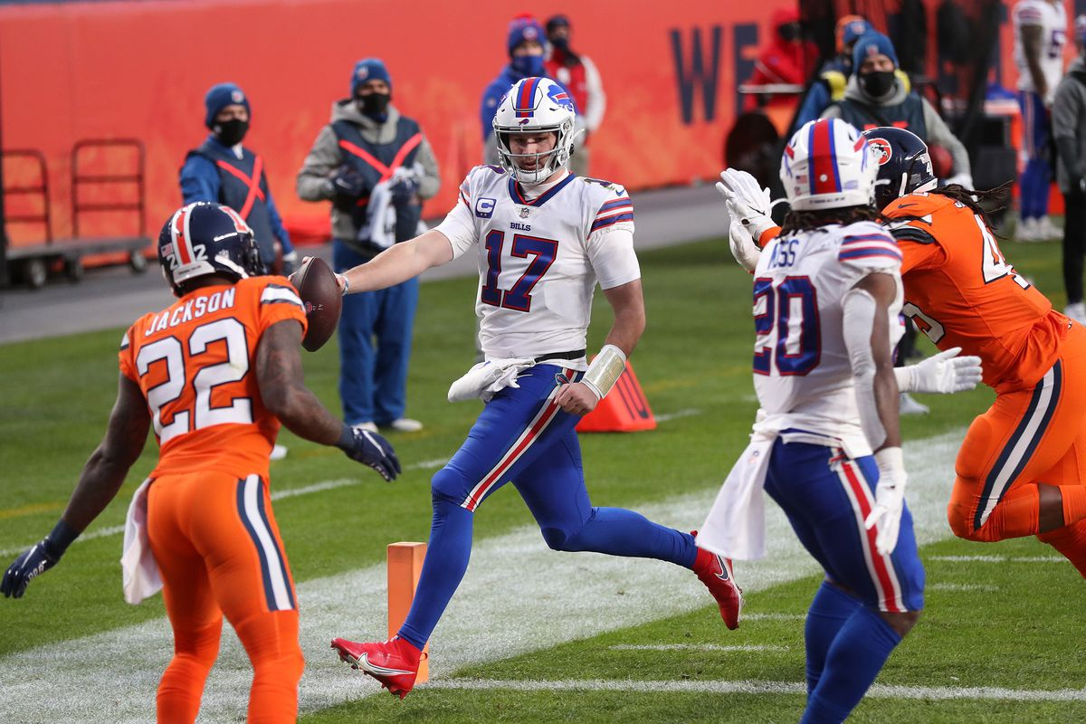 Josh Allen #17 of the Buffalo Bills scores a touchdown during the third quarter against the Denver Broncos at Empower Field At Mile High on December 19, 2020 in Denver, Colorado.