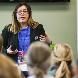 Nadia Bowman, candidate for chair of the Utah Democratic Party, speaks to conventiongoers at the party's State Organizing Convention at Weber State University in Ogden on Saturday, June 17, 2017.