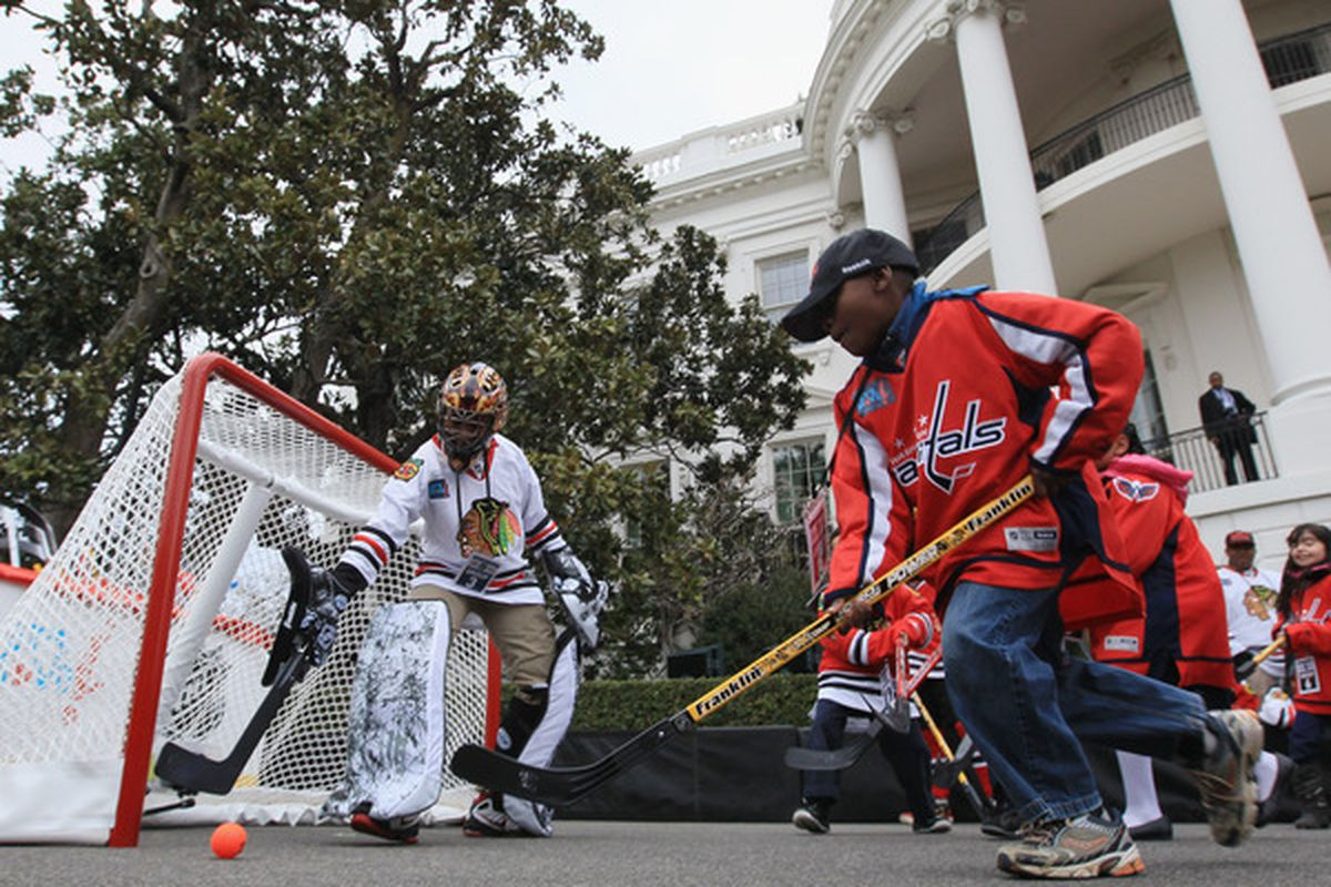 """This is the only thing that came up when I searched """"World Cup of Hockey."""" Street hockey rules, especially at the White House!"""