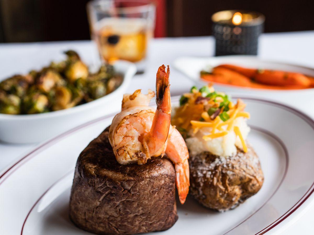 Char shrimp-topped filet