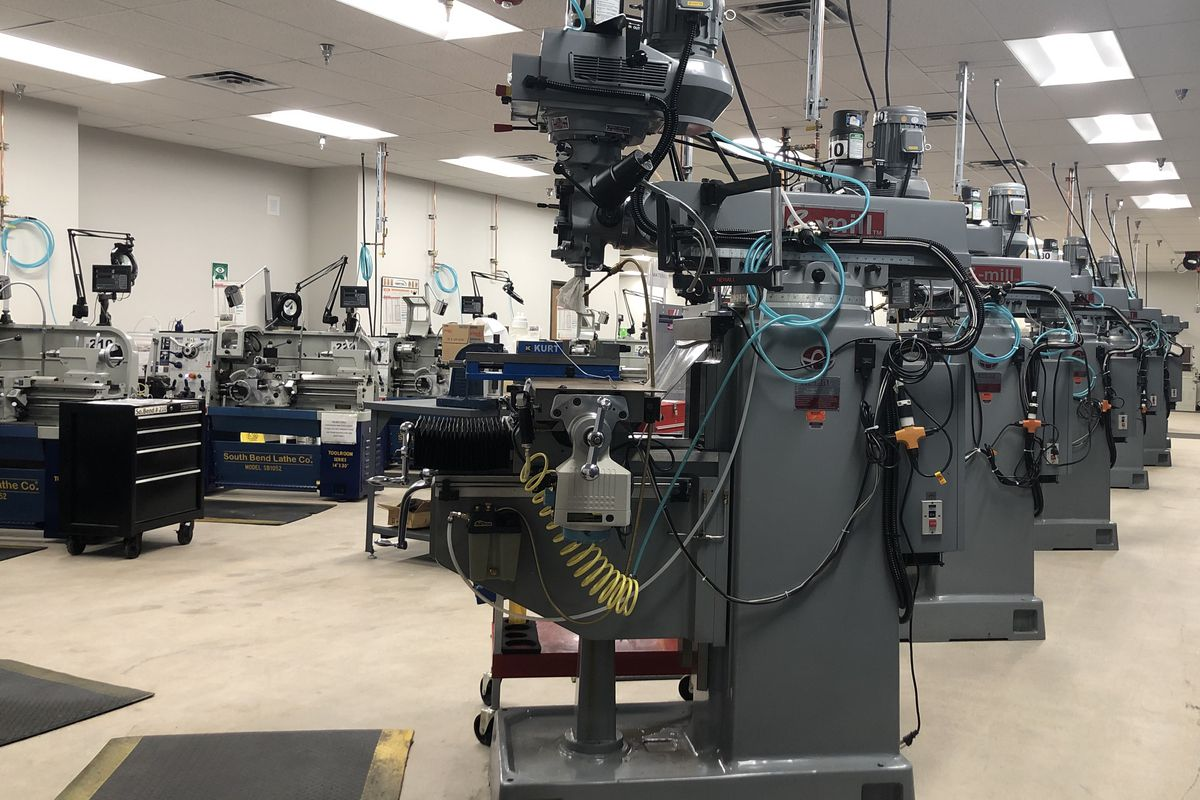 Machines sit ready for learning students at Front Range Community College's new Center for Integrated Manufacturing.