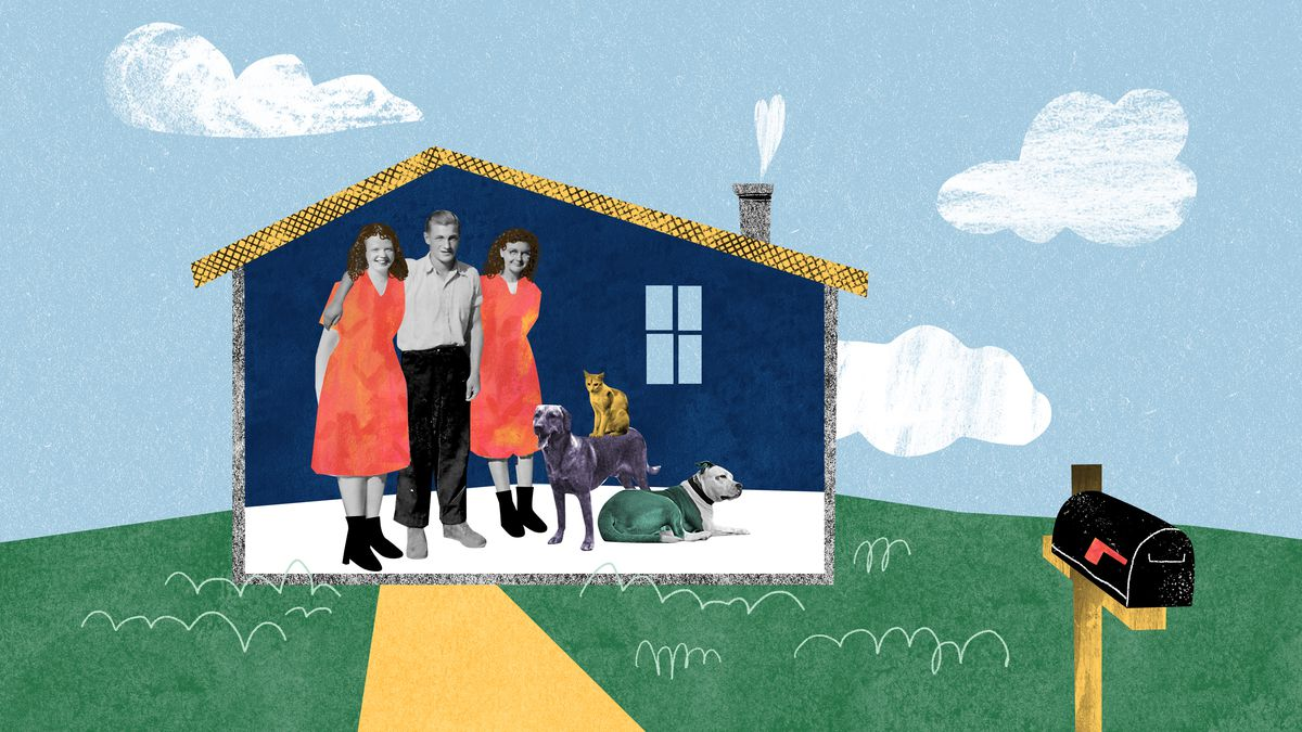 A man with a women on his left and right stand alongside a two large dogs and a cat. They're all enclosed in a small single-room home-like structure with a front lawn and a mailbox. Illustration.