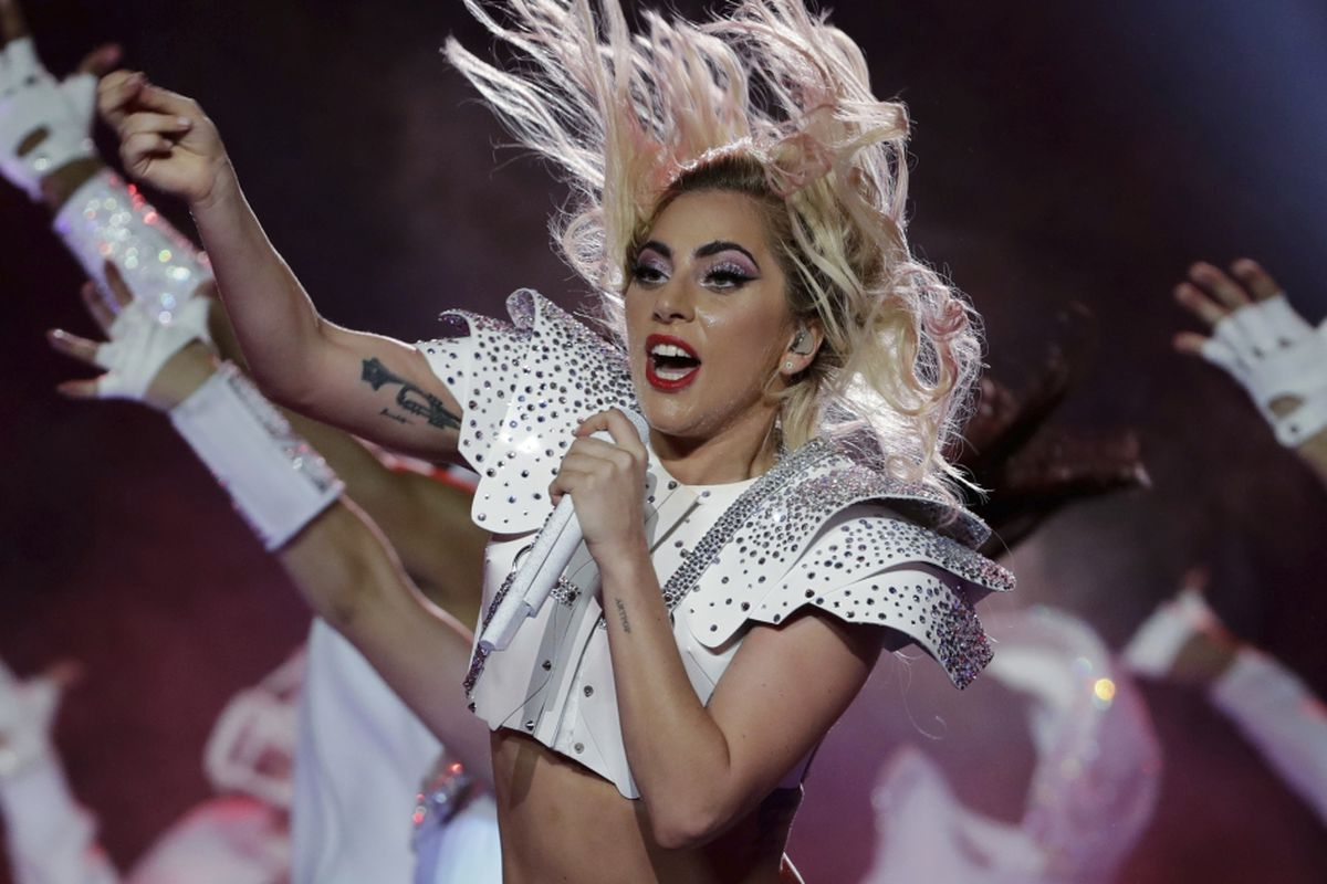 Lady Gaga performs during the halftime show of the NFL Super Bowl 51 football game between the New England Patriots and the Atlanta Falcons in 2017.