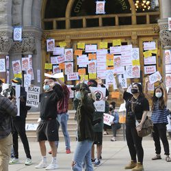 Protesters rally at the Salt Lake City-County Building for Bernardo Palacios-Carbajal in Salt Lake City on Thursday, June 18, 2020. Palacios-Carbajal was shot and killed by Salt Lake police May 23, 2020.