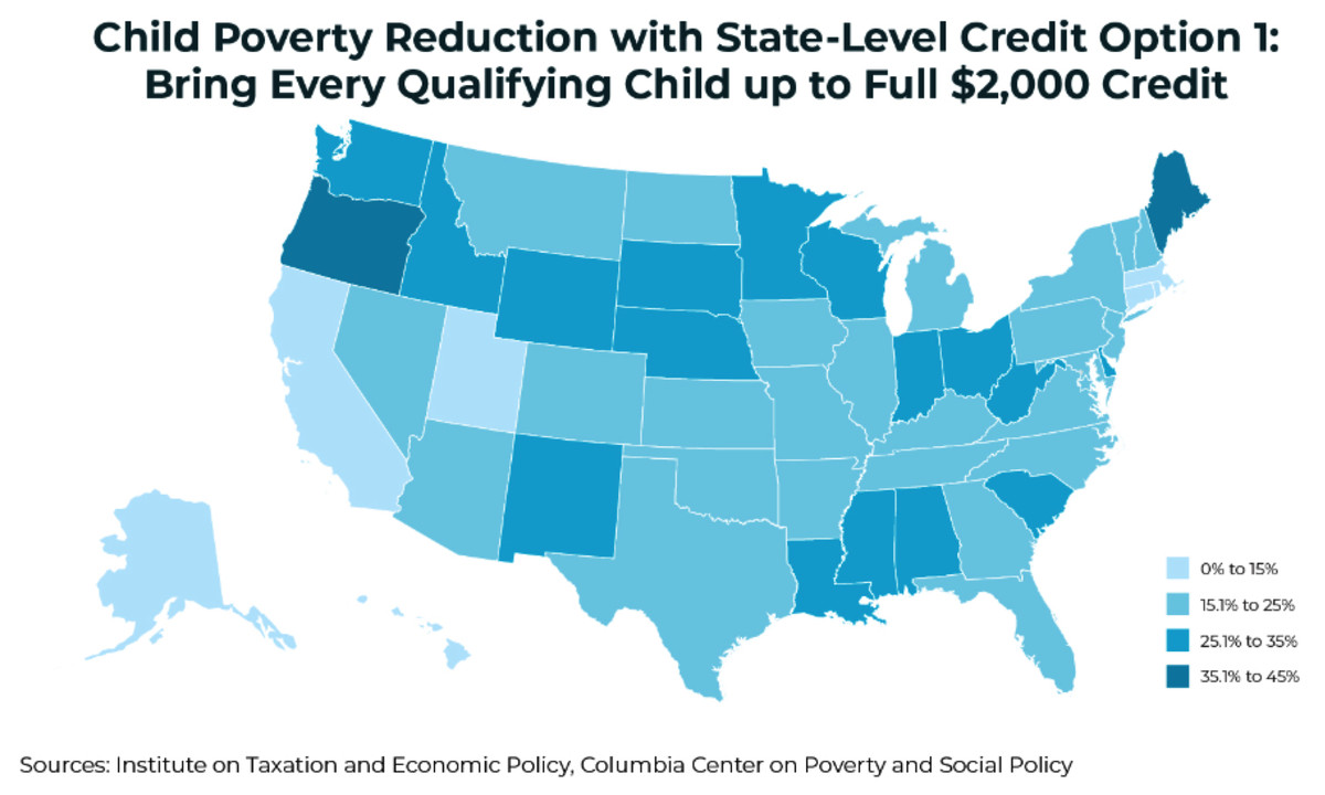 How much child poverty would fall in each state under the smaller state tax credit expansion.