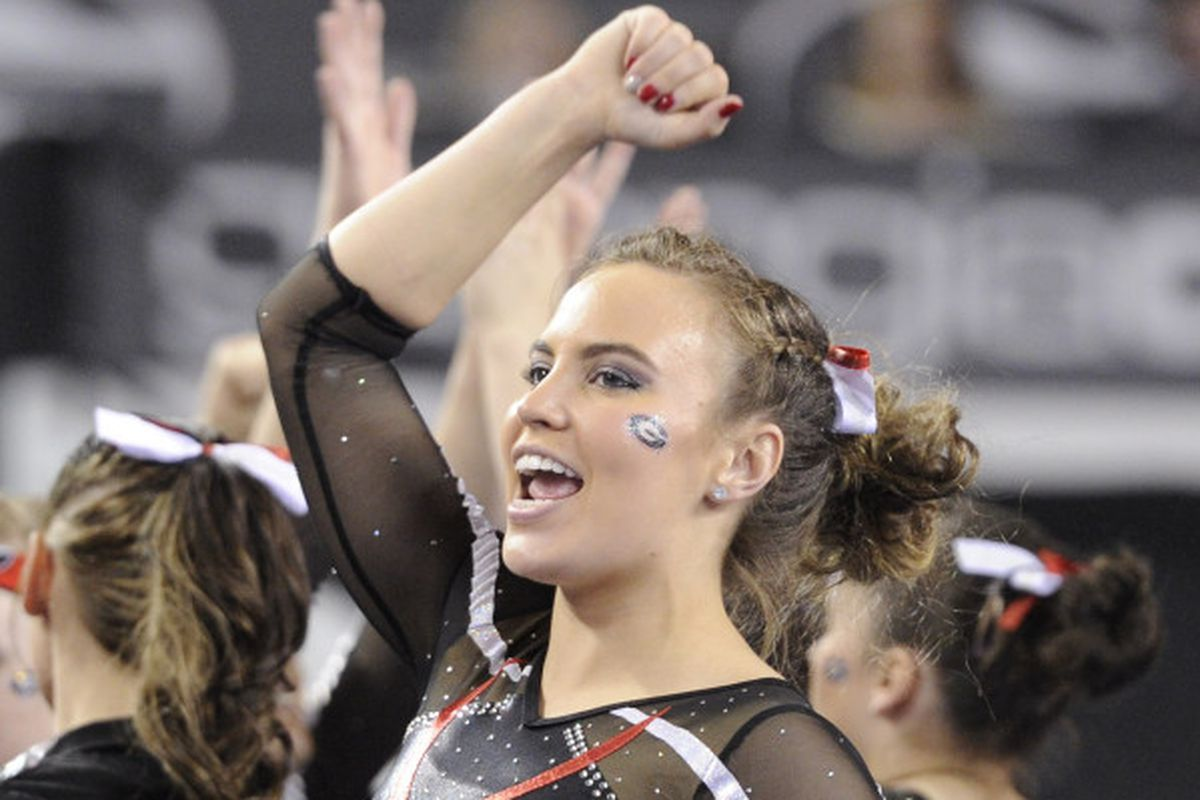 Mary Beth Box did more than just cheering her teammates on, with a 9.95 on beam and a 9.85 on floor on the night.