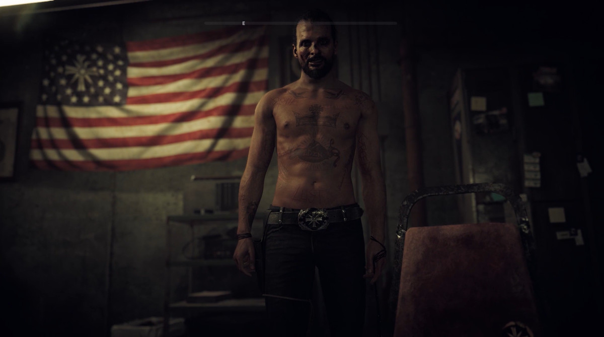 Far Cry 5 - Joseph Seed standing in front of Project at Eden's Gate flag