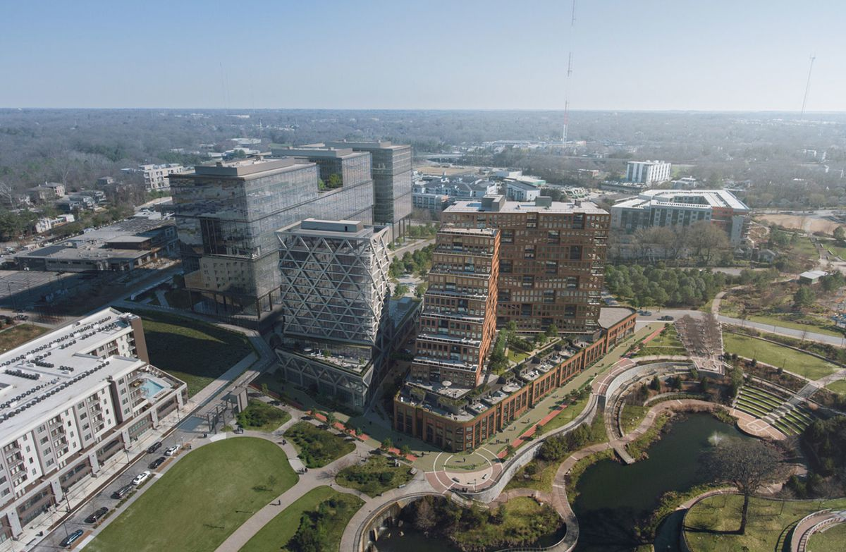 An aerial rendering of the massive development shows massive modern buildings bordering Historic Fourth Ward Park.