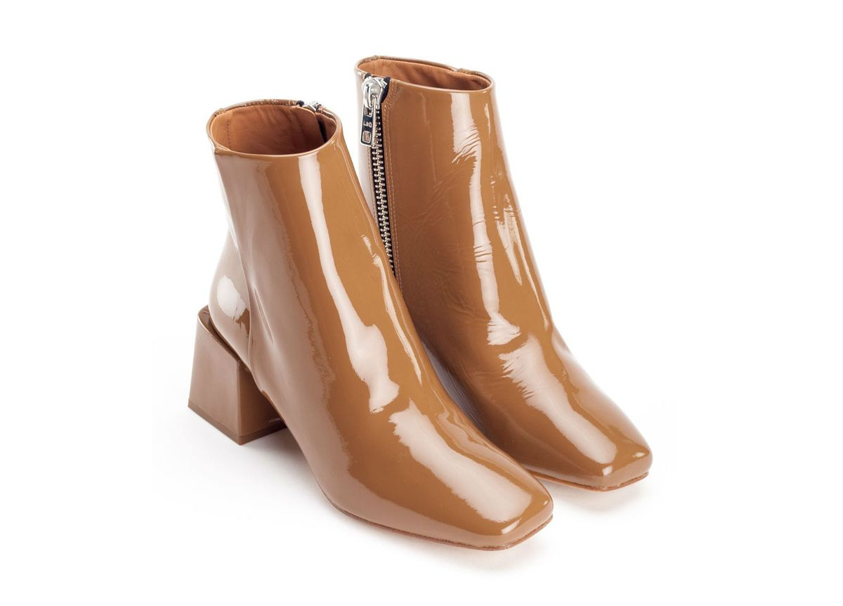 Brown patent leather ankle boots