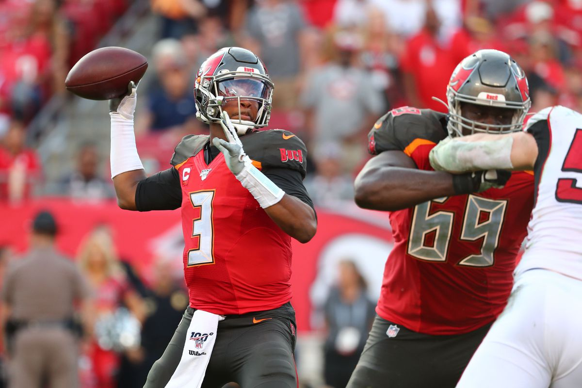Tampa Bay Buccaneers quarterback Jameis Winston throws the ball for an interception to end the game during overtime against the Atlanta Falcons at Raymond James Stadium.