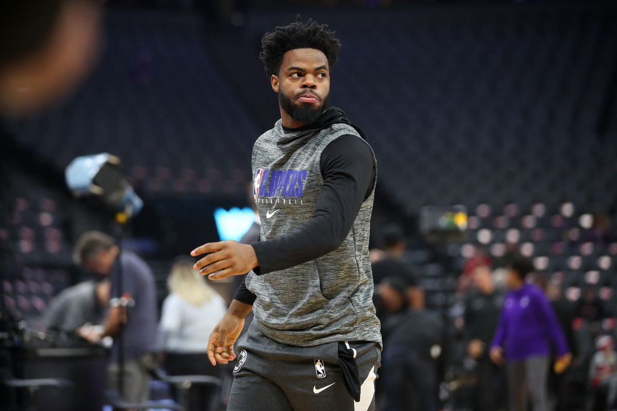 Los Angeles Clippers guard Derrick Walton Jr. warms up before the start of the game against the Sacramento Kings at Golden 1 Center.