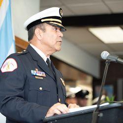 Chicago Fire Commissioner JosŽ A. Santiago speaks. | Colin Boyle/Sun-Times