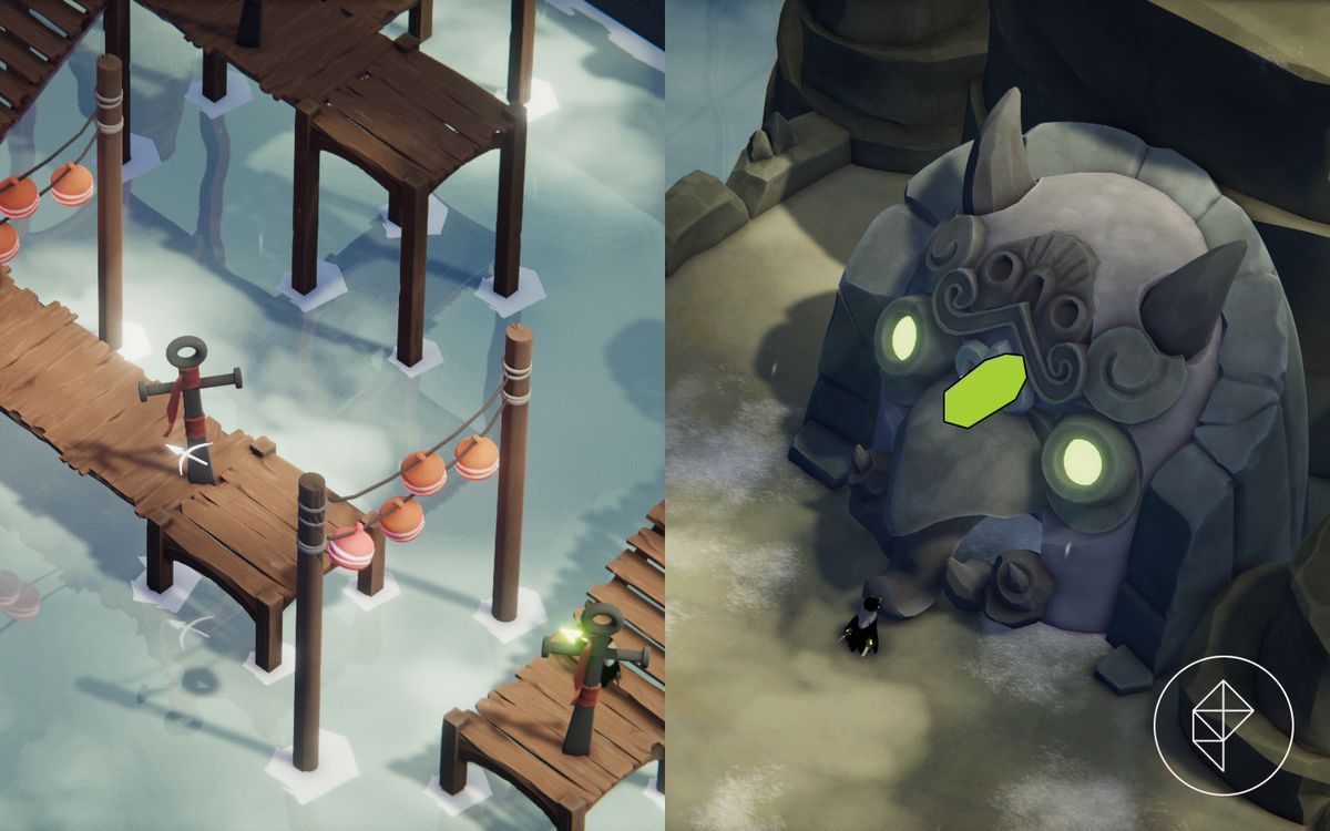 A split image that shows a dock to hookshot to on the left and a vitality shrine on the right.