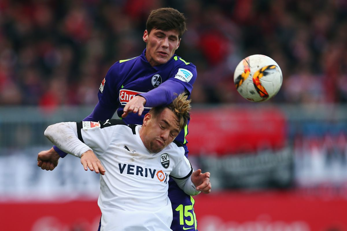 Stenzel, seen here winning an aerial battle, is fitting in nicely with Freiburg.