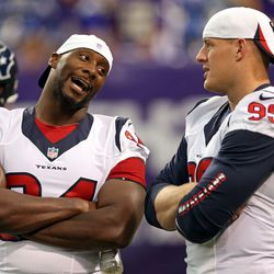Aug 9, 2013; Minneapolis, MN, USA; Houston Texans defensive end Antonio Smith (94) and defensive tackle Daniel Muir (99) talk during pre game before a game against the Minnesota Vikings at the Metrodome.