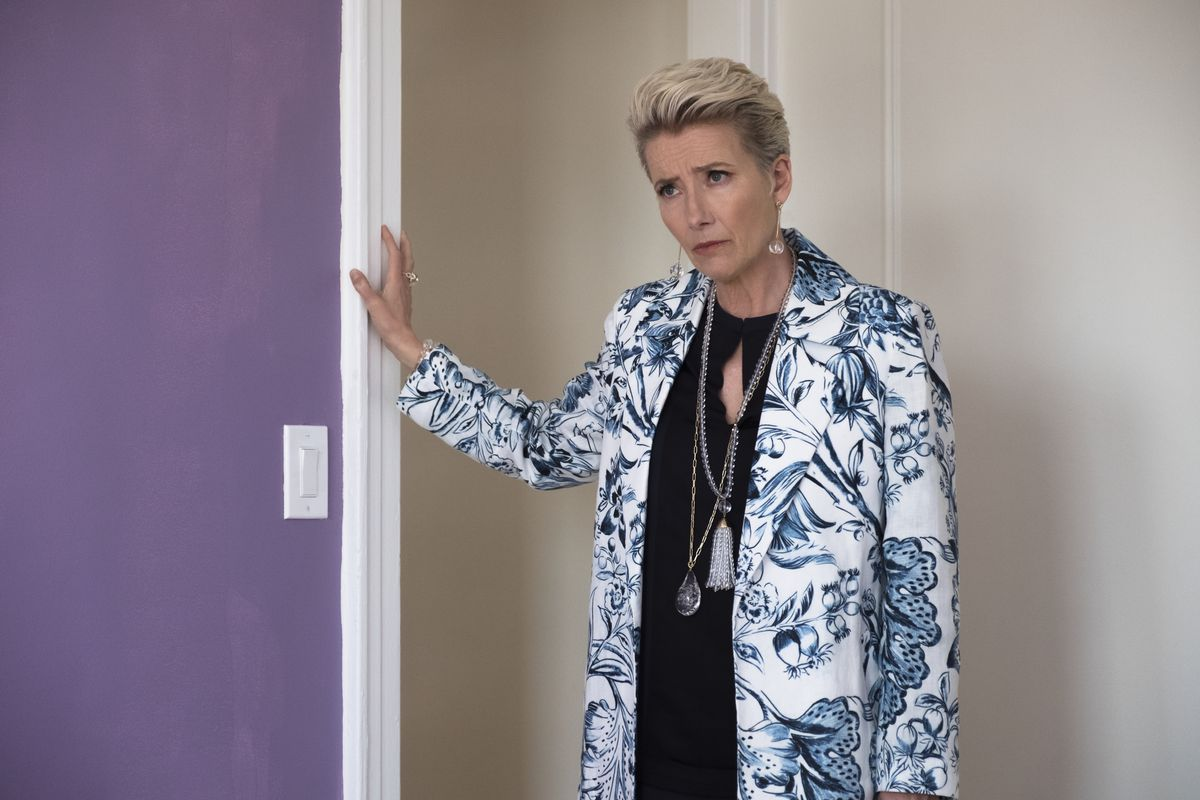 "Emma Thompson as Katherine Newbury in the movie ""Late Night."""