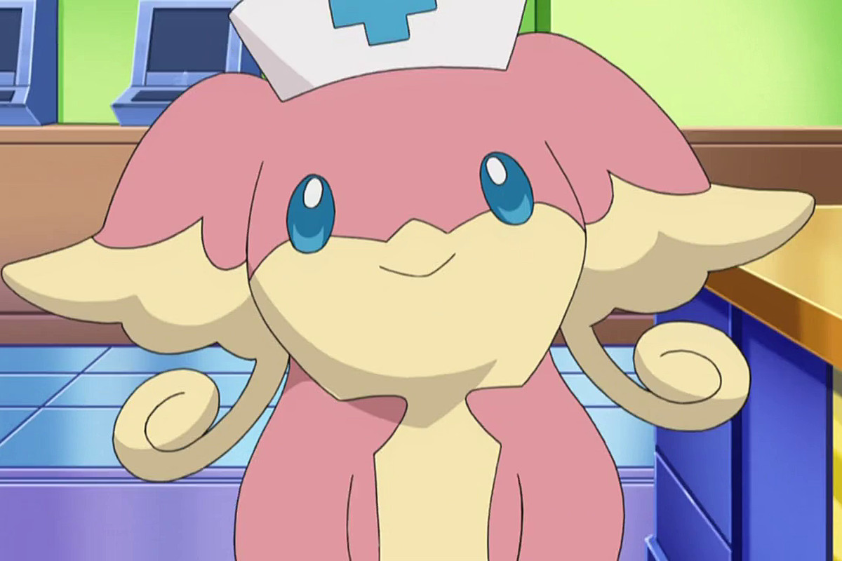 An Audino in a nurse hat smiles pleasantly