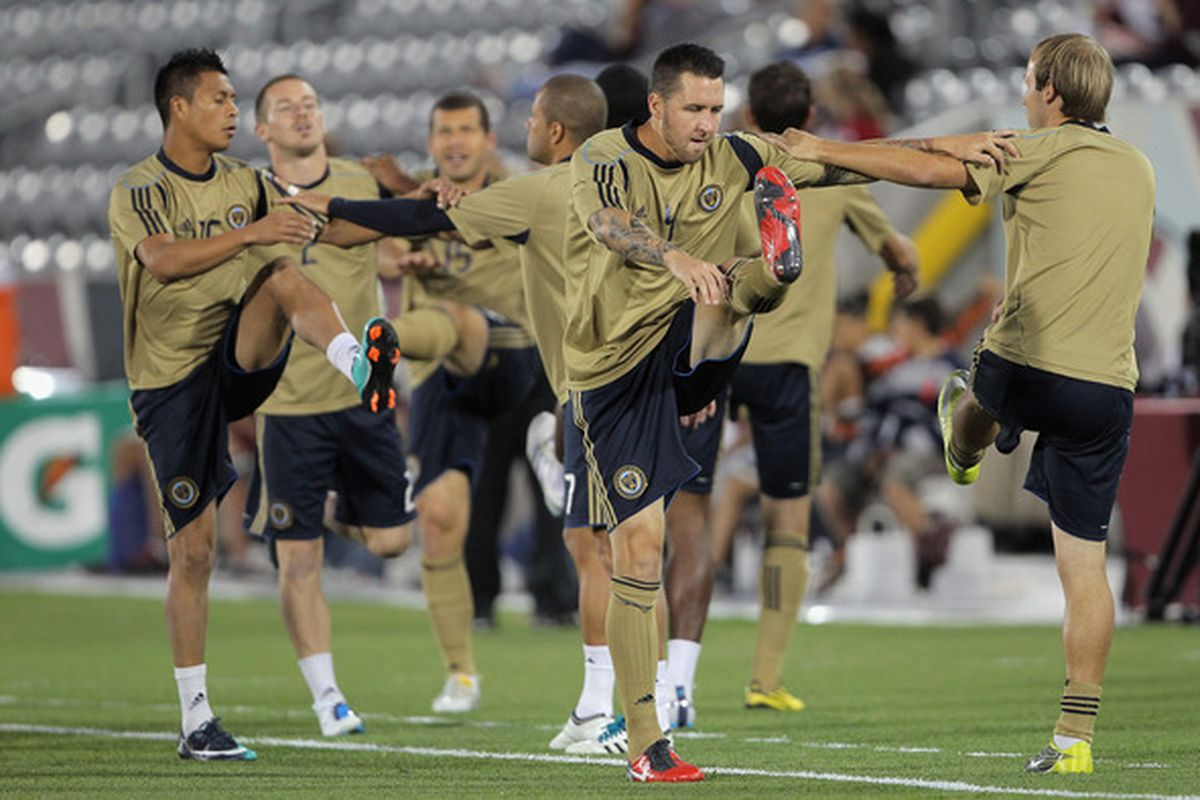 COMMERCE CITY CO - SEPTEMBER 29:  Players for the Philadelphia Union warm up prior to facing the Colorado Rapids at Dick's Sporting Goods Park on September 29 2010 in Commerce City Colorado.  (Photo by Doug Pensinger/Getty Images)