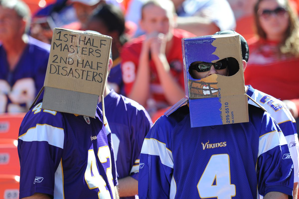 KANSAS CITY, MO - OCTOBER 02:  Minnesota Vikings fans display their frustration before a game against the Kansas City Chiefs on October 2, 2011 at Arrowhead Stadium in Kansas City, Missouri.  (Photo by Peter Aiken/Getty Images)