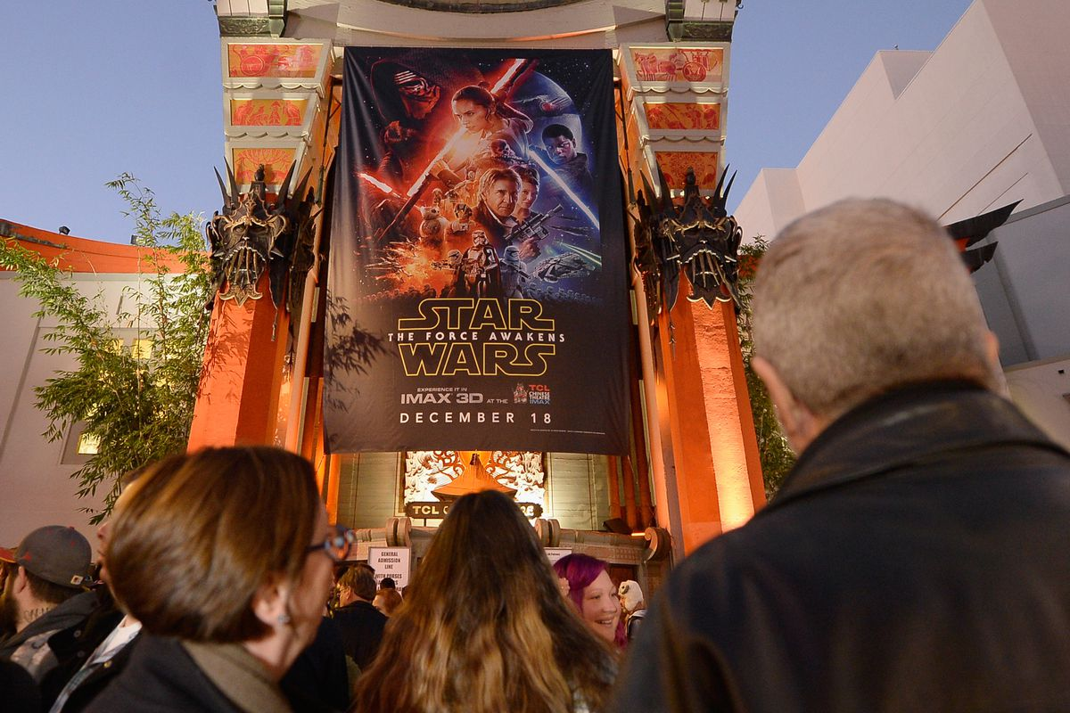 Fans lining up for Star Wars: The Force Awakens.