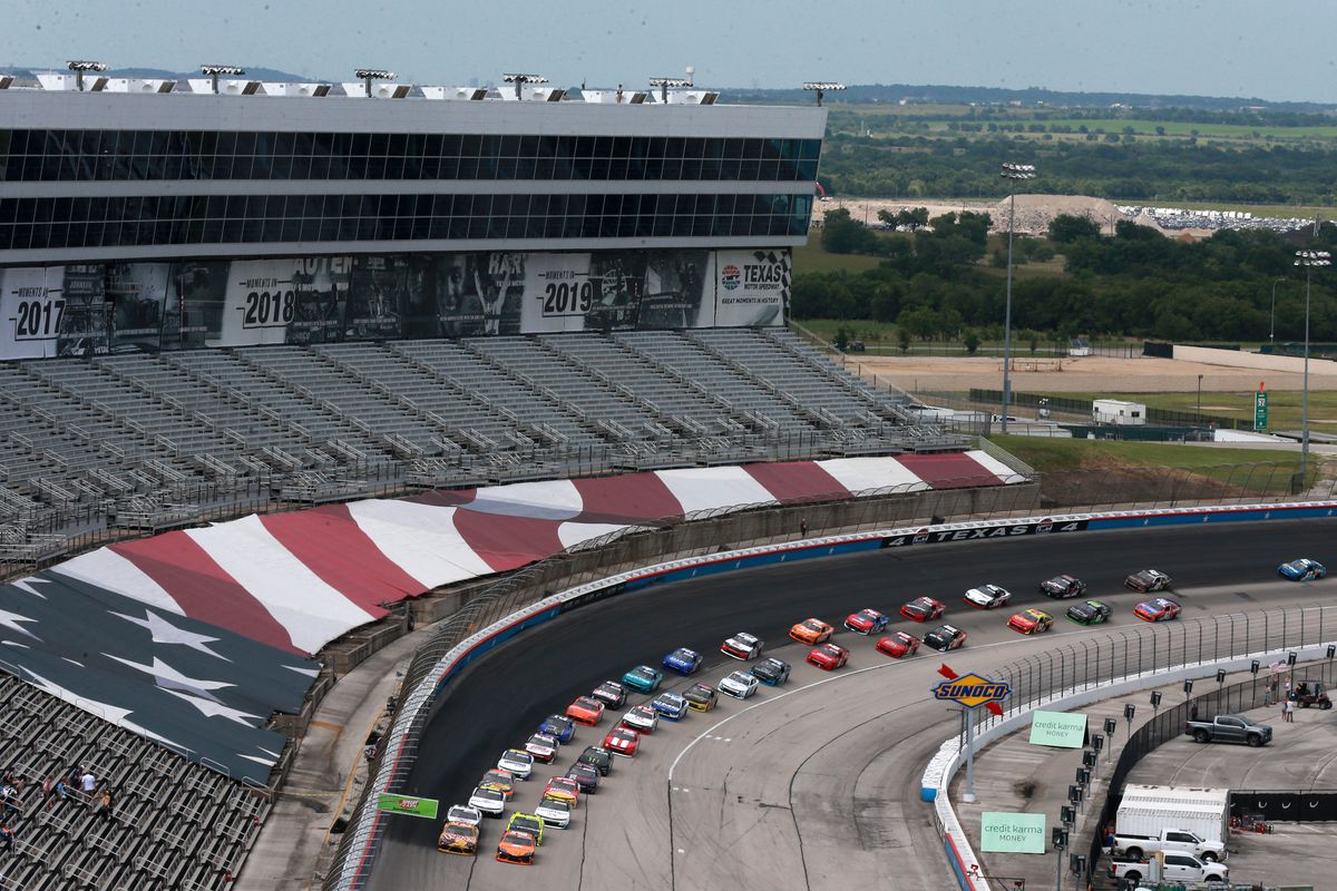 A general view of cars on track during the NASCAR Xfinity Series Alsco Uniforms 250 at Texas Motor Speedway on June 12, 2021 in Fort Worth, Texas.