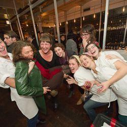 Team Momofuku Milk Bar (with Christina Tosi at left) get crazy with Food & Wine's Kate Krader (in green jacket).