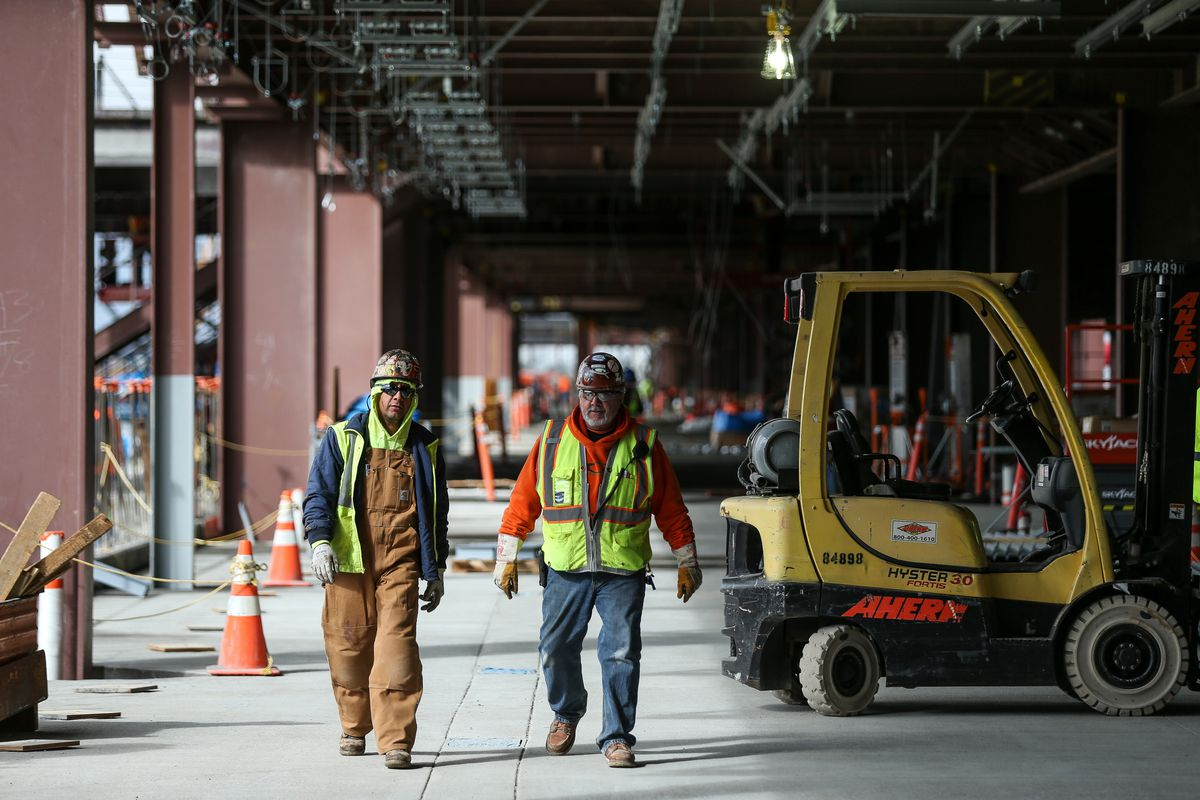 Construction work continues on the baggage level of the South Concourse-West of the new Salt Lake City International Airport on Friday, Sept. 22, 2017.