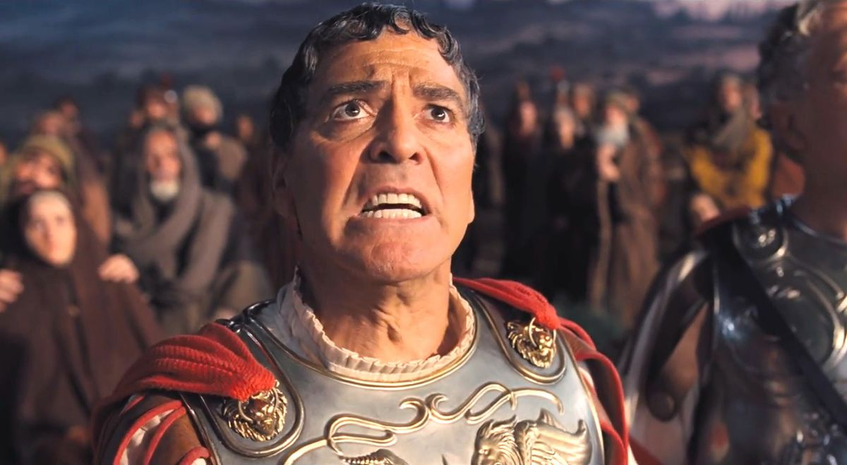 George Clooney stars as fictitious actor Baird Whitlock starring in a biblical epic