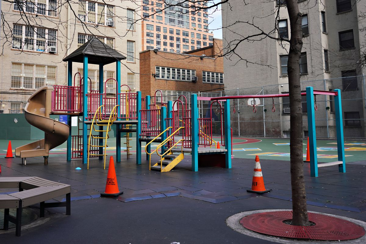 An empty school playground is seen as the coronavirus continues to spread across the United States on March 16, 2020 in New York City. The World Health Organization declared coronavirus (COVID-19) a global pandemic on March 11th.
