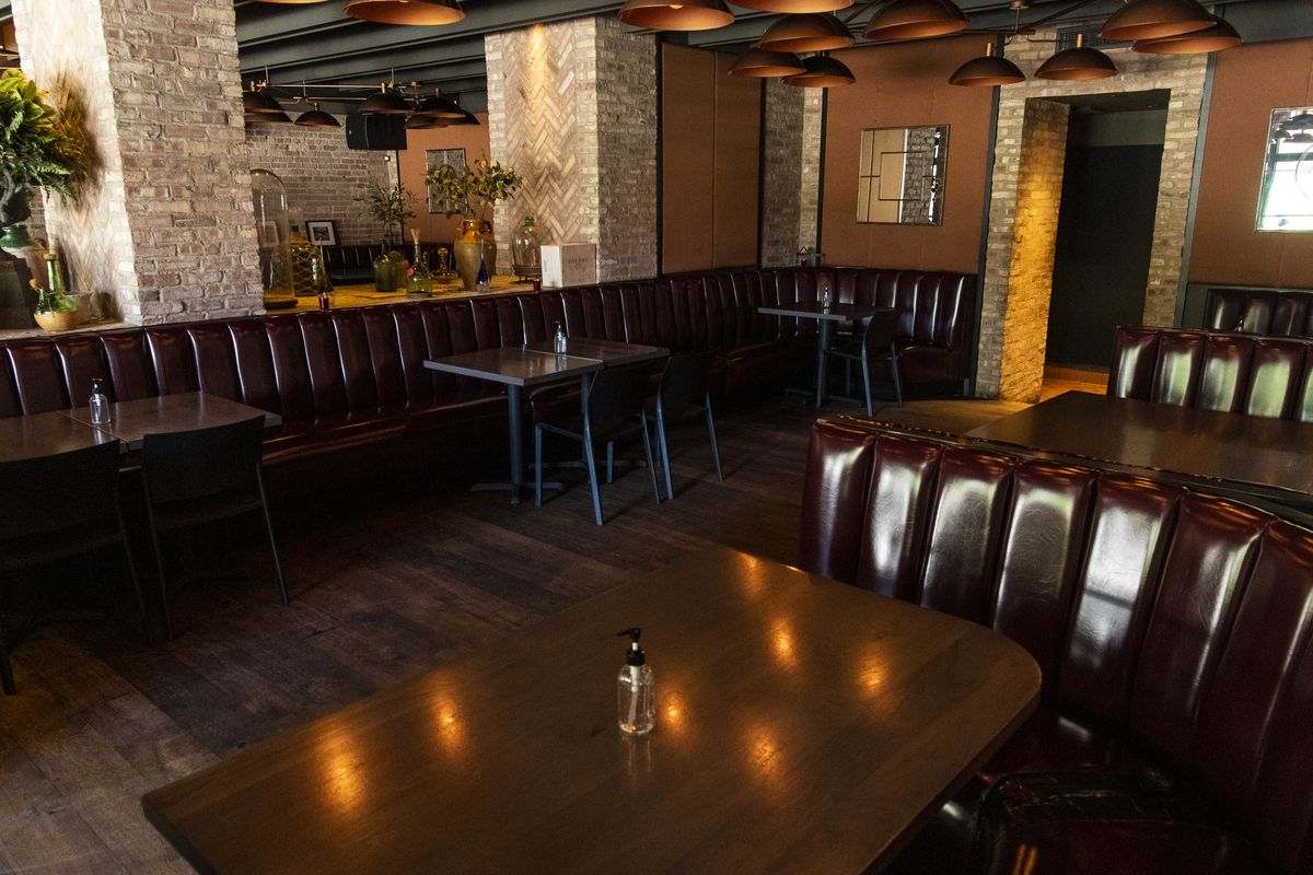 The dining booths at Formento's Italian restaurant in Chicago's West Town neighborhood in August.