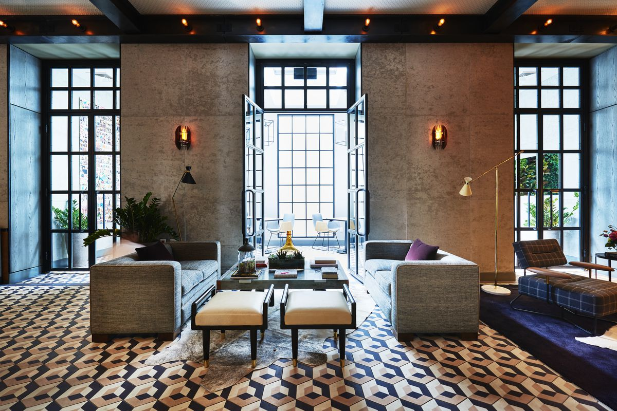 Ceramic tiled flooring and concrete walls at the SIXTY SoHo hotel in New  York City All photos courtesy Tara Bernerd & Partners. British interior  designer ...