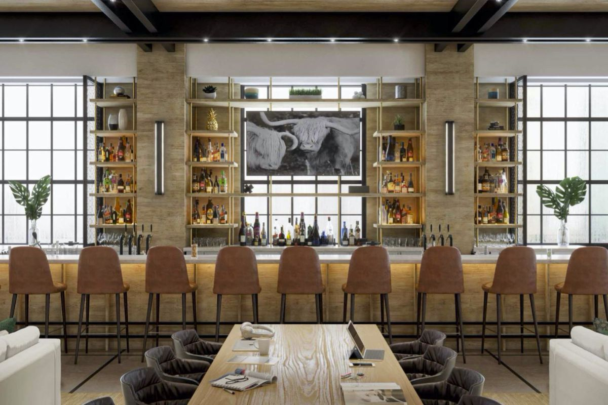 A rendering of a 9-seat bar with floor to ceiling windows called Draw Bar at the Interlock in Atlanta