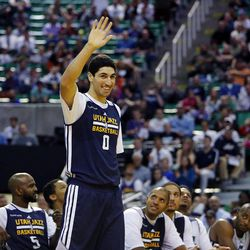 Enes Kanter is introduced before the Utah Jazz's scrimmage in Salt Lake City, Saturday, Oct. 5, 2013.