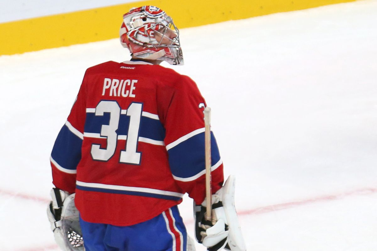 Carey Price looking around for his team, as they're nowhere to be found.