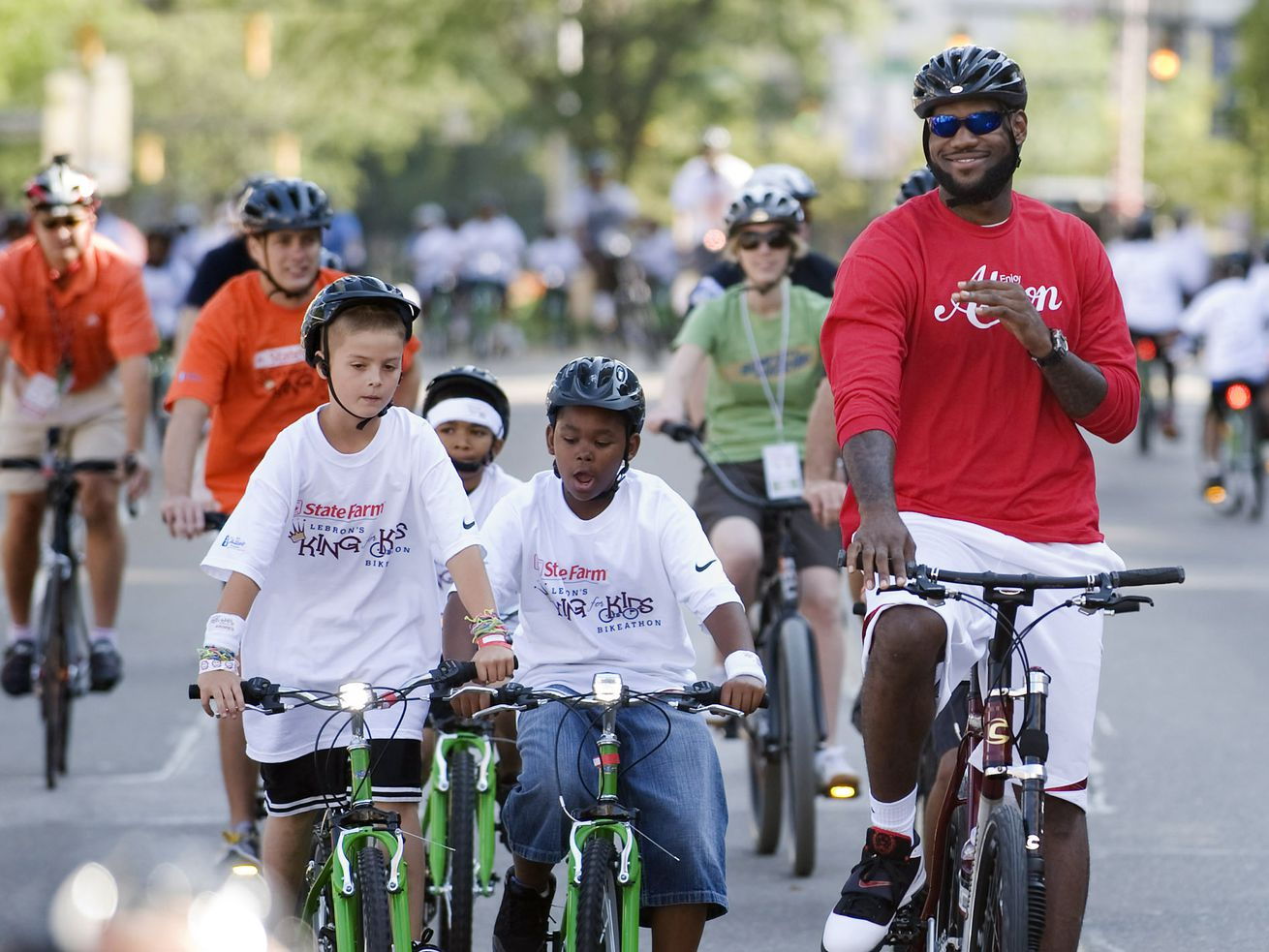 LeBron James at a Bike-a-thon for kids in Akron, Ohio.