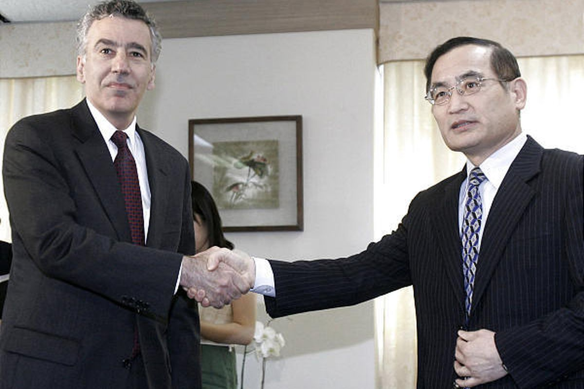 U.S. envoy Philip Goldberg, left, shakes hands with Wi Sung-lac, South Korea's top nuclear envoy during a meeting at the Foreign Ministry in Seoul, South Korea, Monday.