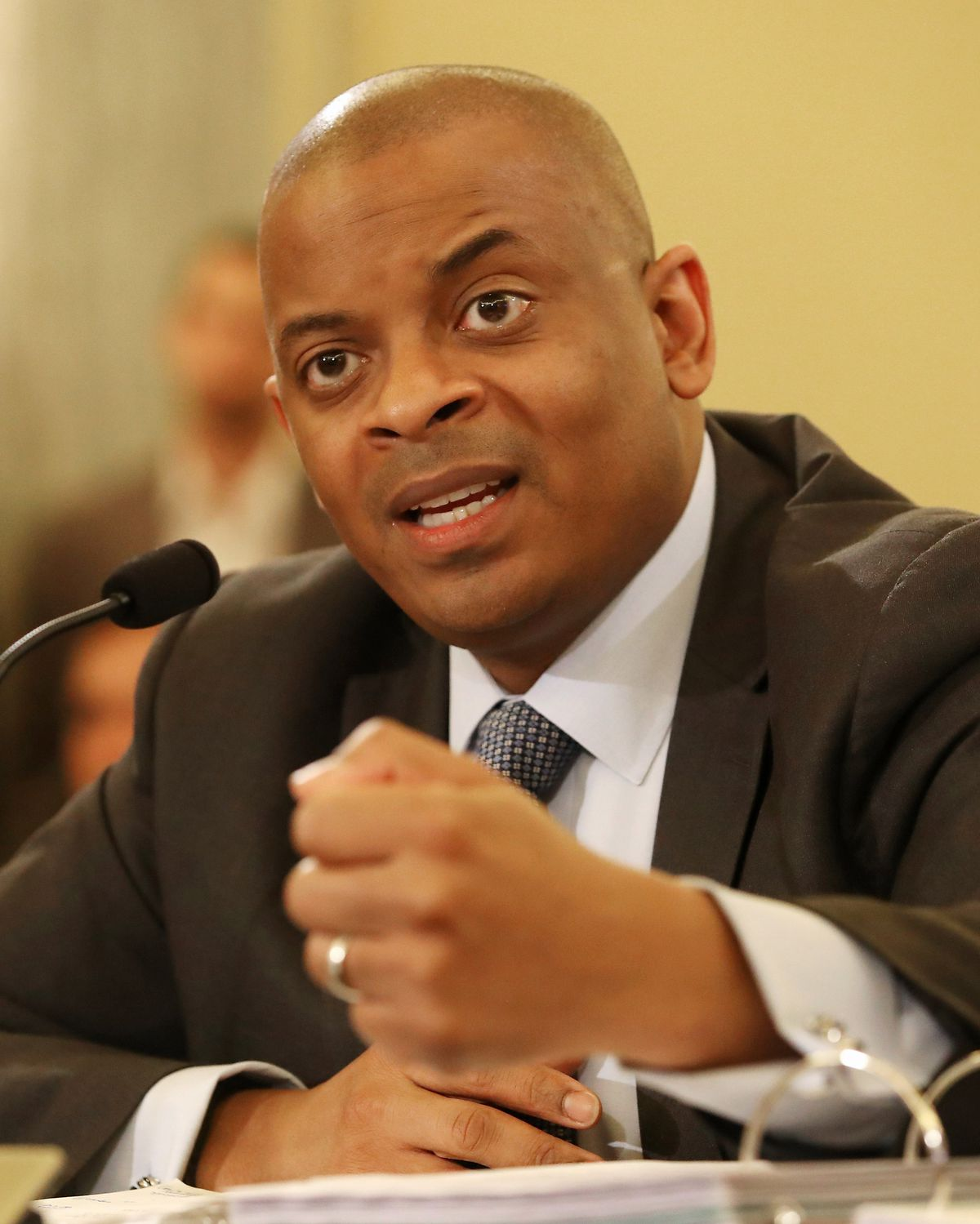 Former Transportation Secretary Anthony Foxx testifies to a Senate committee on fixing America's Surface Transportation Act