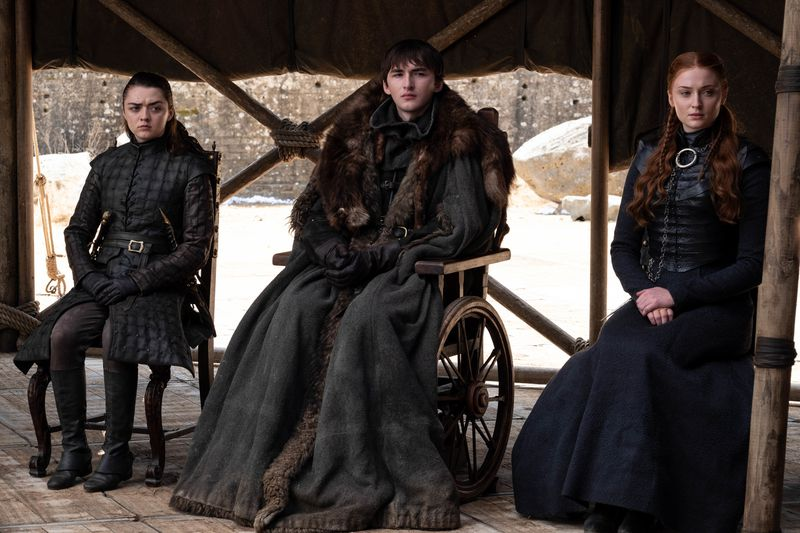 """Seated """"Game of Thrones"""" characters in the final season."""