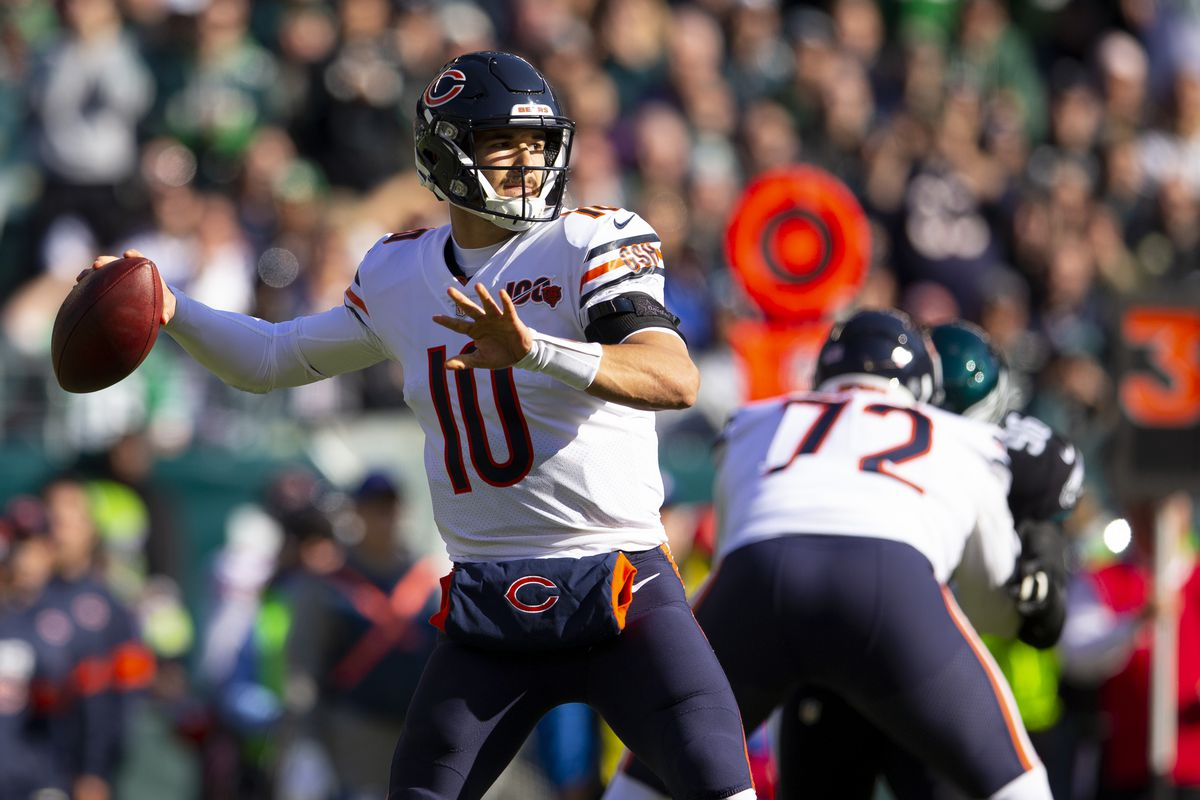 Bears quarterback MitchTrubisky (10) completed 10-of-21 passes for 125 yards, no touchdowns and no interceptions for a 66.6 passer rating in a 22-14 loss to the Philadelphia Eagles on Sunday at Lincoln Financial Field in Philadelphia. Trubisky, who set a Bears franchise record with a 95.4 rating last season, is 29th in the NFL in passer rating (80.0) this season.