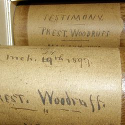 President Wilford Woodruff's testimony is preserved on three Edison phonograph recording wax cylinders. The cylinder in this tube was a copy of one of the March 19, 1897 recordings (the original recording was in two parts). To identify this cylinder as a copy, the original recording date was crossed off and the copy date, March 24, was written down.