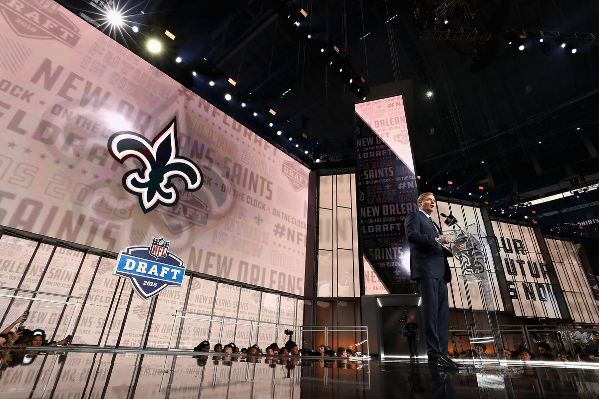 NFL Commissioner Roger Goodell announces a pick by the New Orleans Saints during the first round of the 2018 NFL Draft at AT&T Stadium on April 26, 2018 in Arlington, Texas.