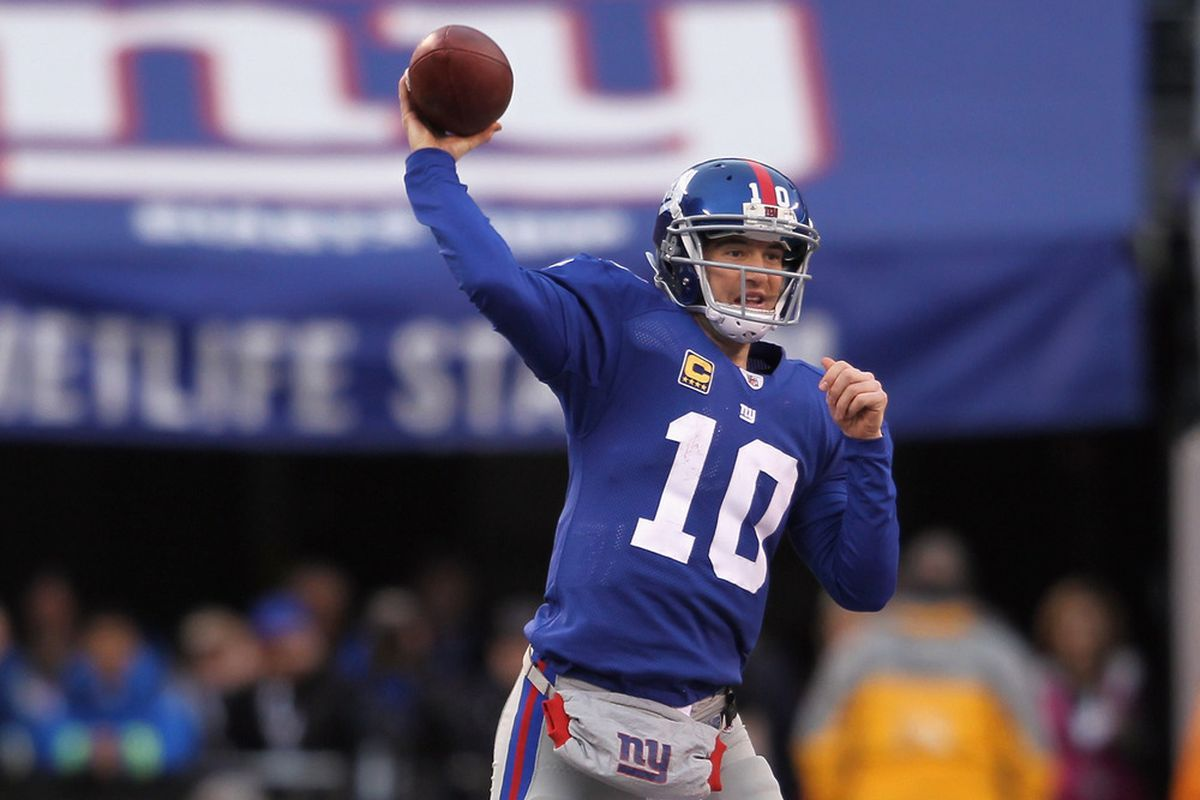 Some are beginning to think of Eli Manning and the New York Giants as serious Super Bowl contenders.  (Photo by Nick Laham/Getty Images)