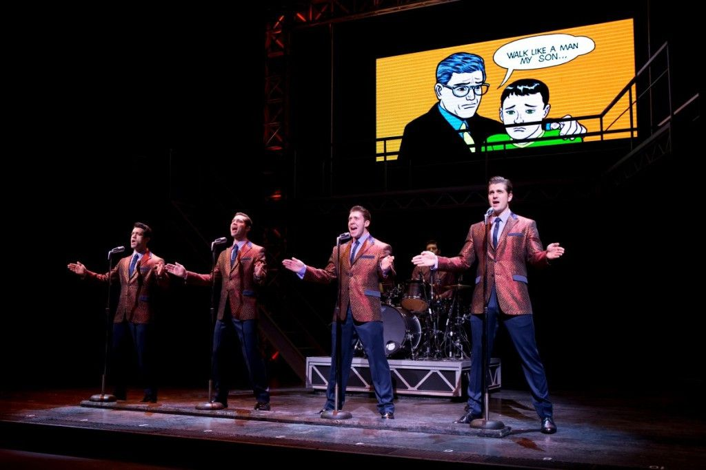 """Hayden Milanes as Frankie Valli (left), with Drew Seeley, Matthew Dailey and Keith Hines performs """"Walk Like a Man,"""" in """"The Jersey Boys,"""" the hit musical now at the Cadillac Palace Theatre."""
