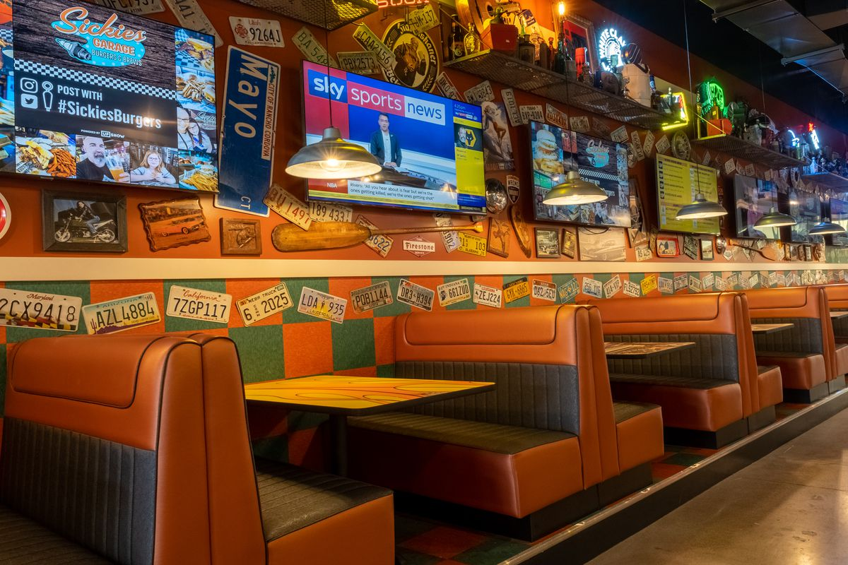 Brightly colored booths