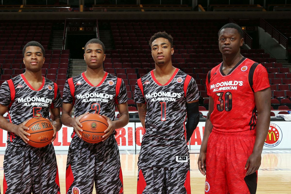3 Texans (Julius Randle & the Harrison twins) flank Michigan native James Young at the 2013 McDonald's All-American Game.