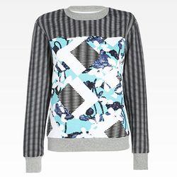 Sweatshirt in Light Blue Floral/Check Print, $29.99.