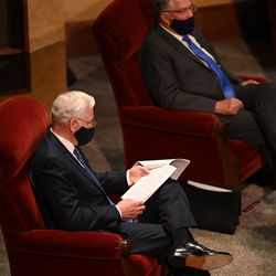 Elder D. Todd Christofferson of the Quorum of the Twelve Apostles gets ready to speak during the Saturday afternoon session of the 190th Semiannual General Conference of The Church of Jesus Christ of Latter-day Saints on Oct. 3, 2020.
