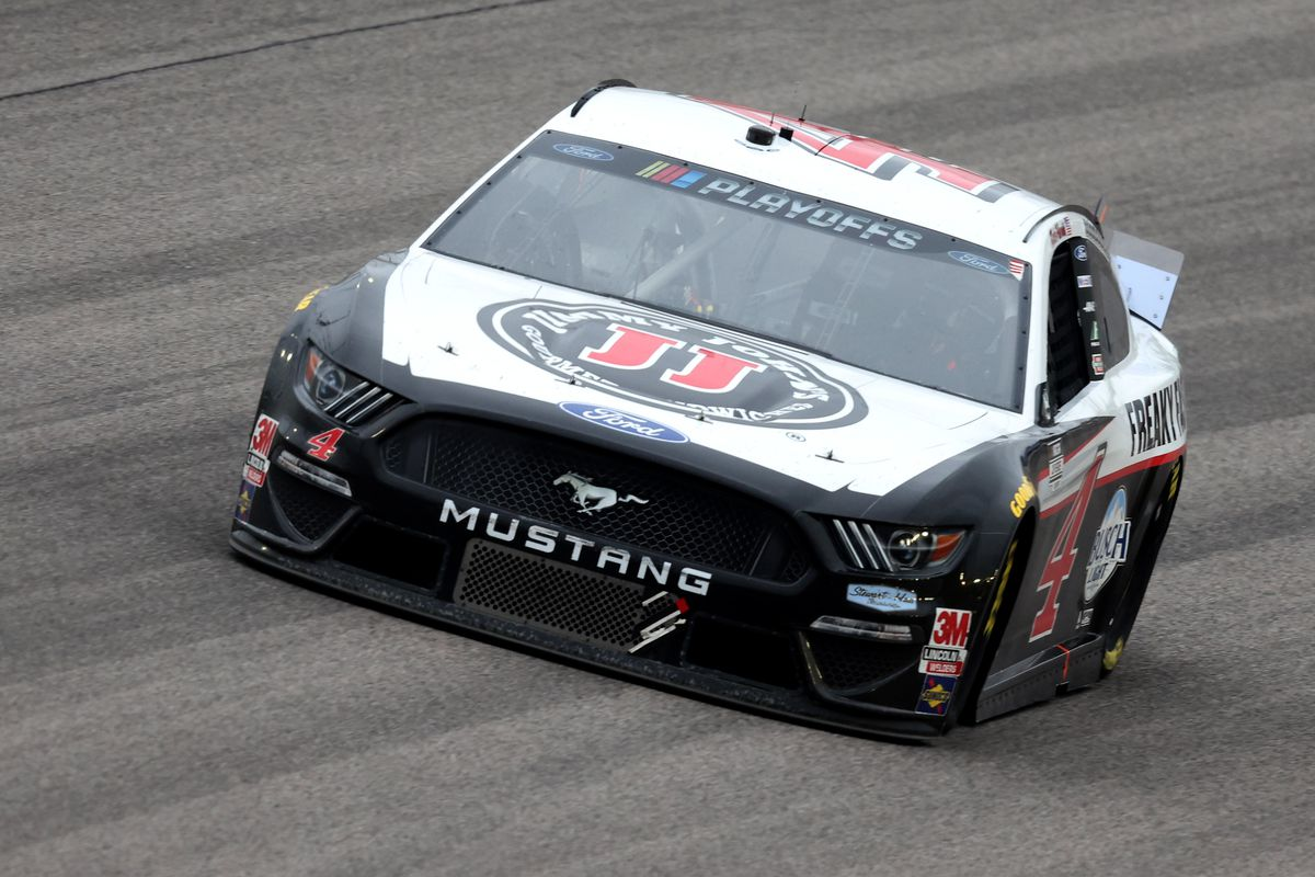 Kevin Harvick, driver of the Jimmy John's Ford, races during the NASCAR Cup Series Hollywood Casino 400 at Kansas Speedway on October 18, 2020 in Kansas City, Kansas.